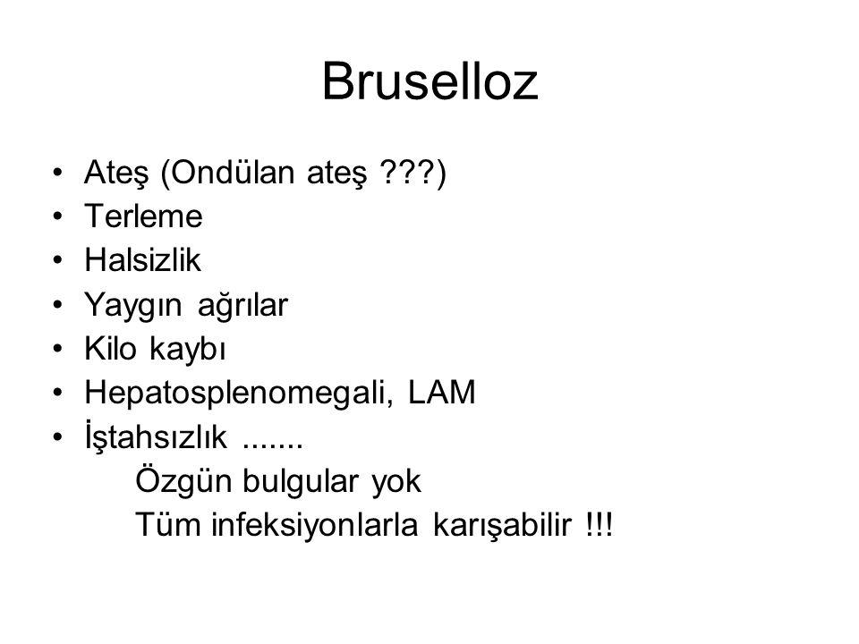 Bruselloz Ateş (Ondülan ateş ) Terleme Halsizlik Yaygın ağrılar