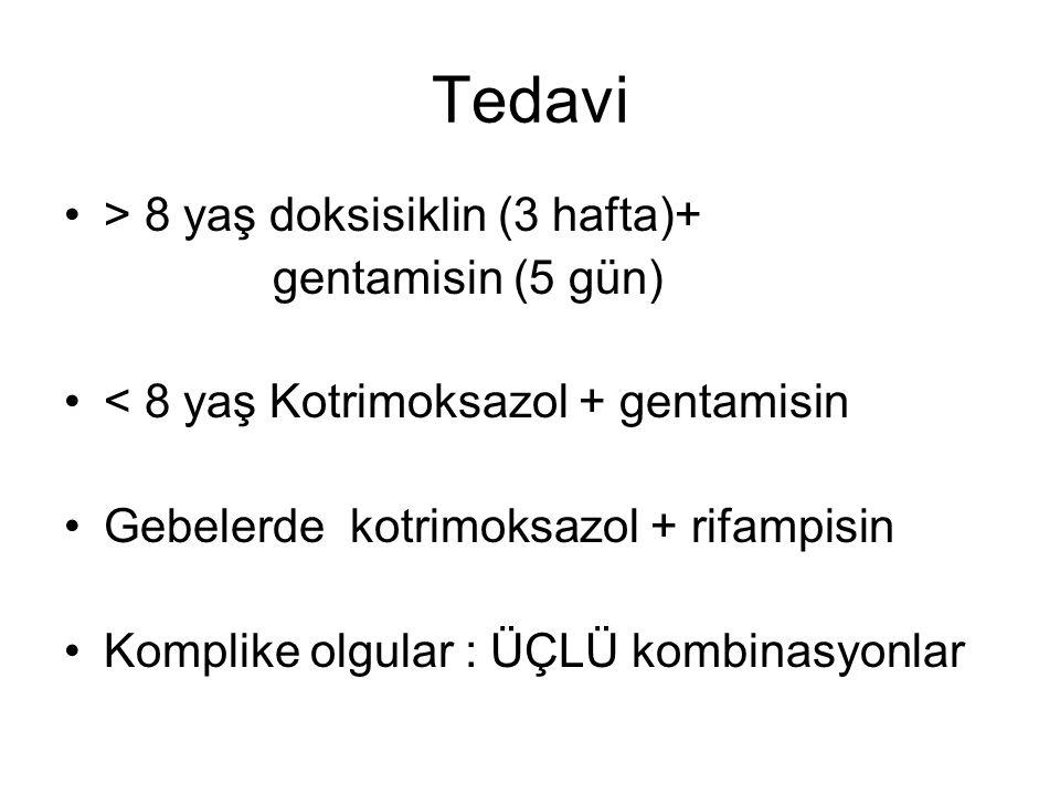 Tedavi > 8 yaş doksisiklin (3 hafta)+ gentamisin (5 gün)
