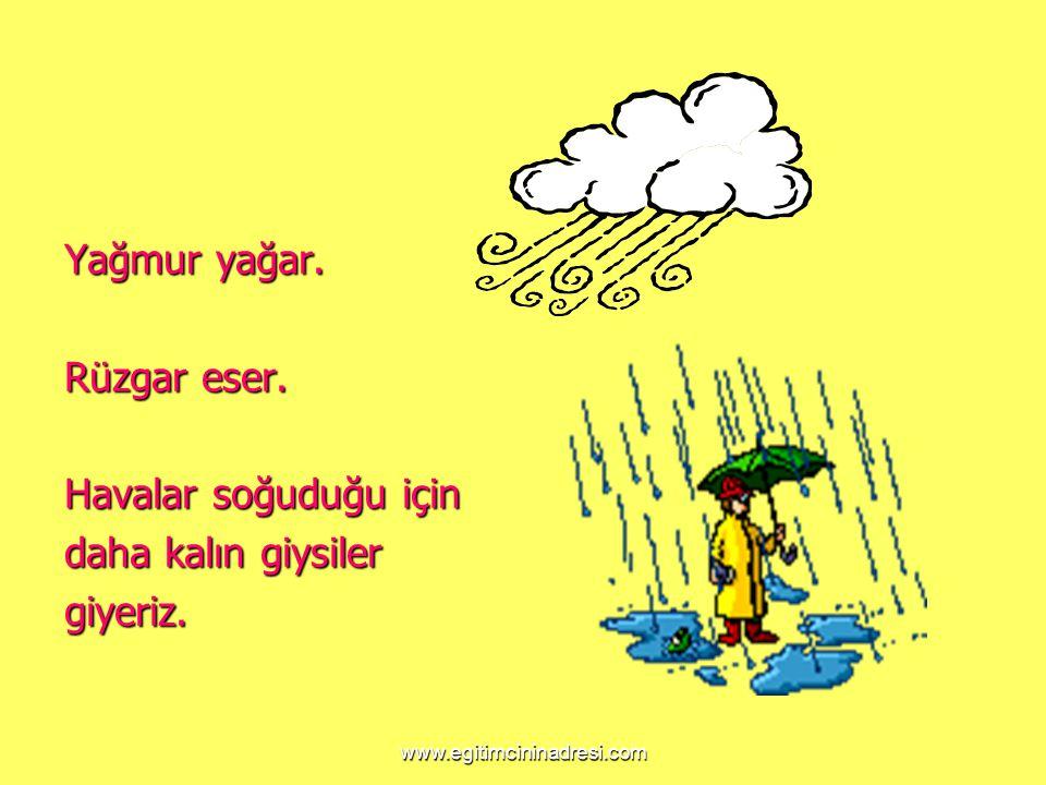 Yağmur yağar. Rüzgar eser. Havalar soğuduğu için daha kalın giysiler