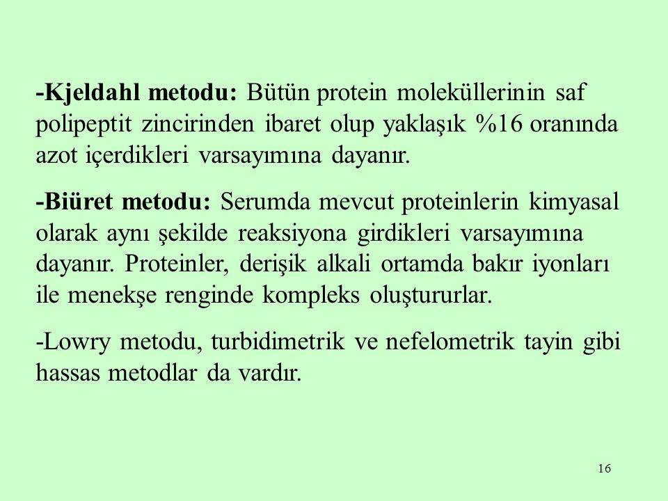 -Kjeldahl metodu: Bütün protein moleküllerinin saf polipeptit zincirinden ibaret olup yaklaşık %16 oranında azot içerdikleri varsayımına dayanır.