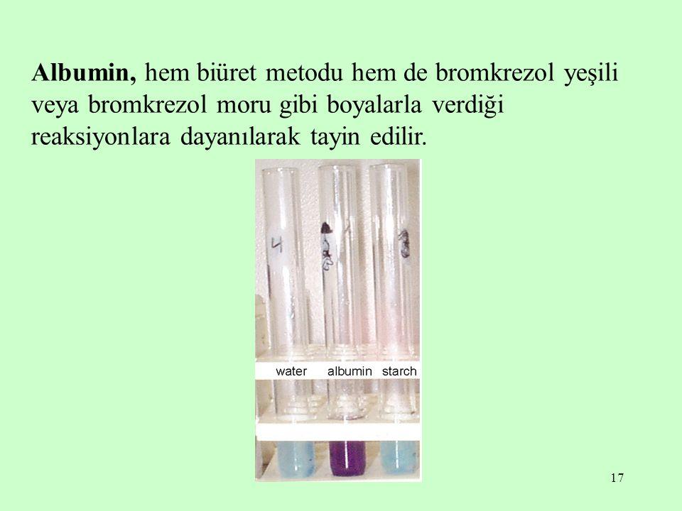 Albumin, hem biüret metodu hem de bromkrezol yeşili veya bromkrezol moru gibi boyalarla verdiği reaksiyonlara dayanılarak tayin edilir.