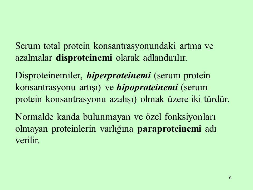 Serum total protein konsantrasyonundaki artma ve azalmalar disproteinemi olarak adlandırılır.