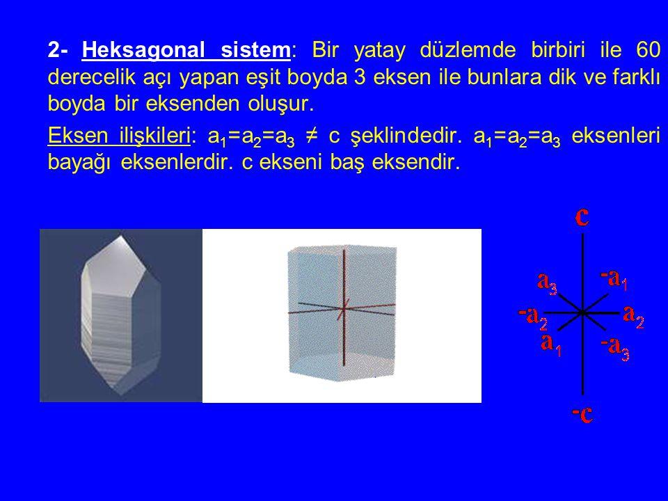 2- Heksagonal sistem: Bir yatay düzlemde birbiri ile 60 derecelik açı yapan eşit boyda 3 eksen ile bunlara dik ve farklı boyda bir eksenden oluşur.