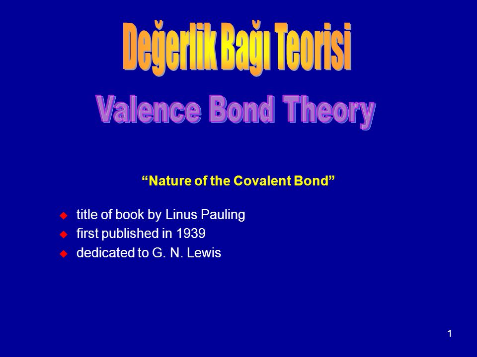 Nature of the Covalent Bond