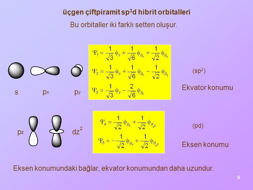üçgen çiftpiramit sp3d hibrit orbitalleri