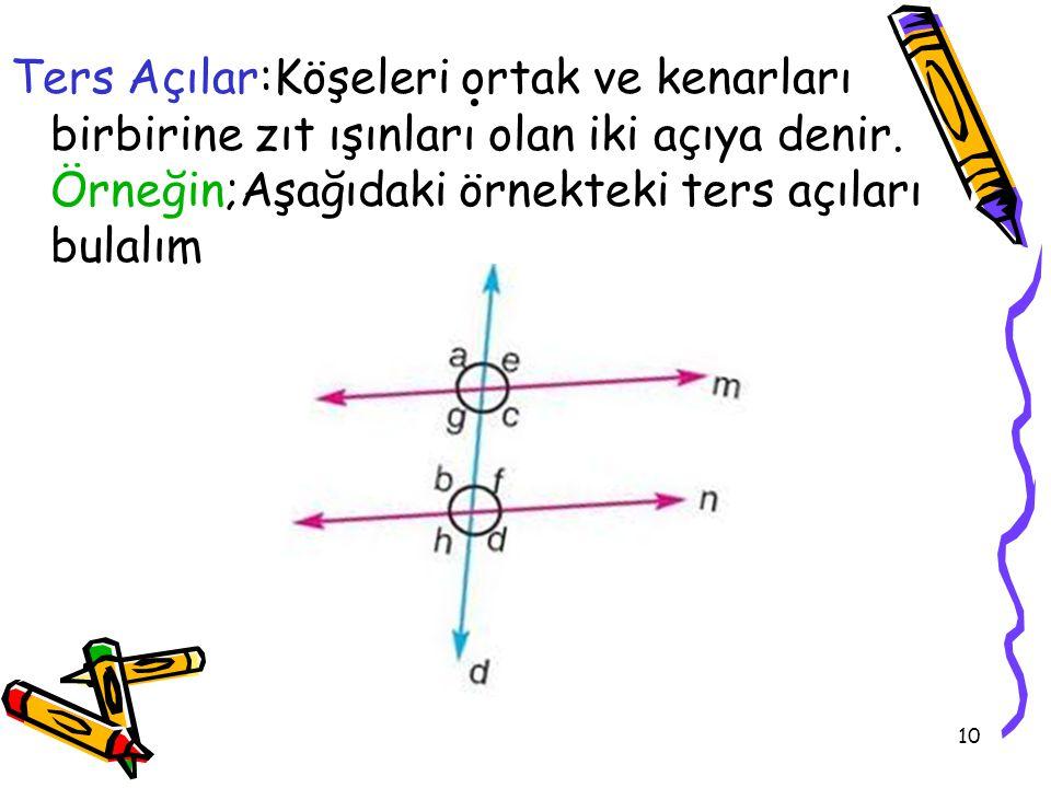 Ters Açılar:Köşeleri ortak ve kenarları birbirine zıt ışınları olan iki açıya denir.