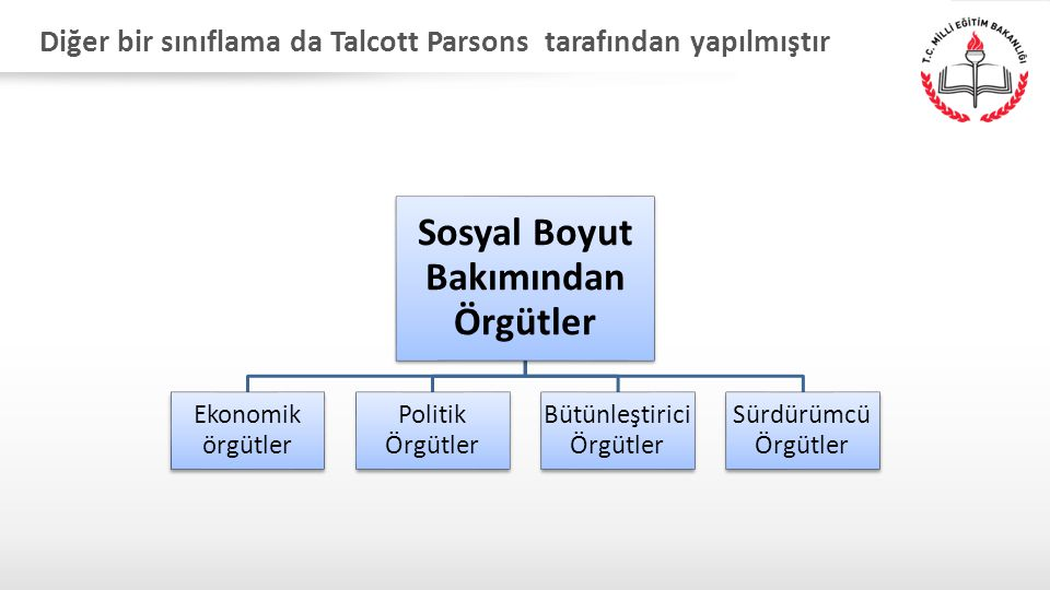 Diğer bir sınıflama da Talcott Parsons tarafından yapılmıştır (1960):