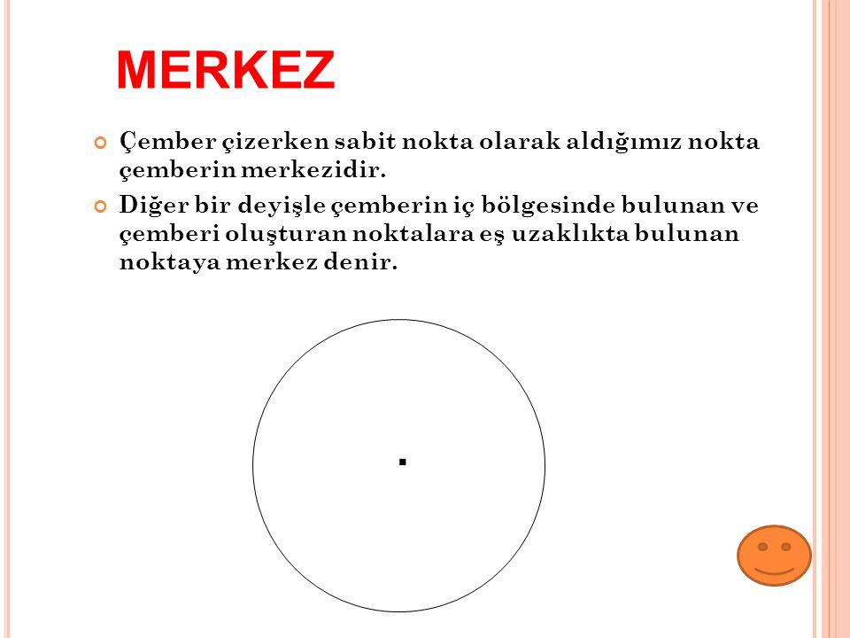 MERKEZ Çember çizerken sabit nokta olarak aldığımız nokta çemberin merkezidir.