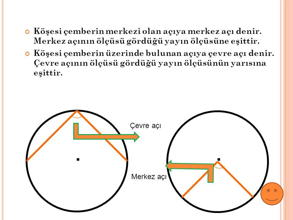 Köşesi çemberin merkezi olan açıya merkez açı denir