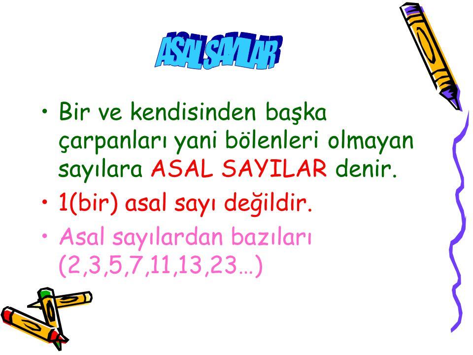 ASAL SAYILAR Bir ve kendisinden başka çarpanları yani bölenleri olmayan sayılara ASAL SAYILAR denir.
