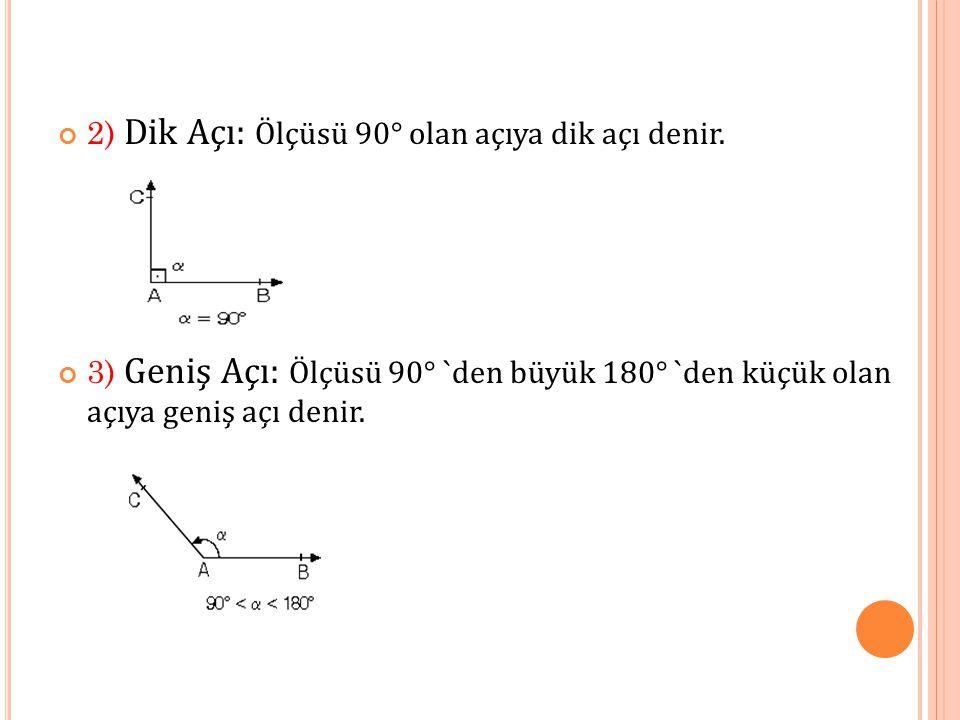 2) Dik Açı: Ölçüsü 90° olan açıya dik açı denir.