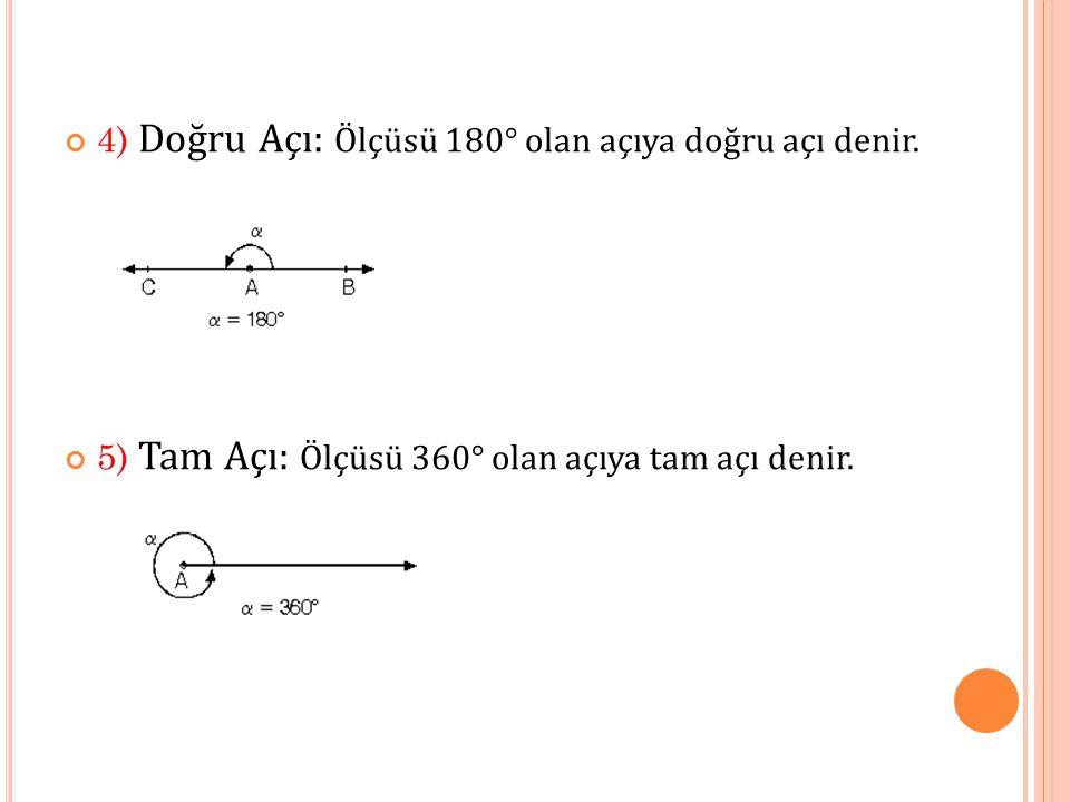 4) Doğru Açı: Ölçüsü 180° olan açıya doğru açı denir.