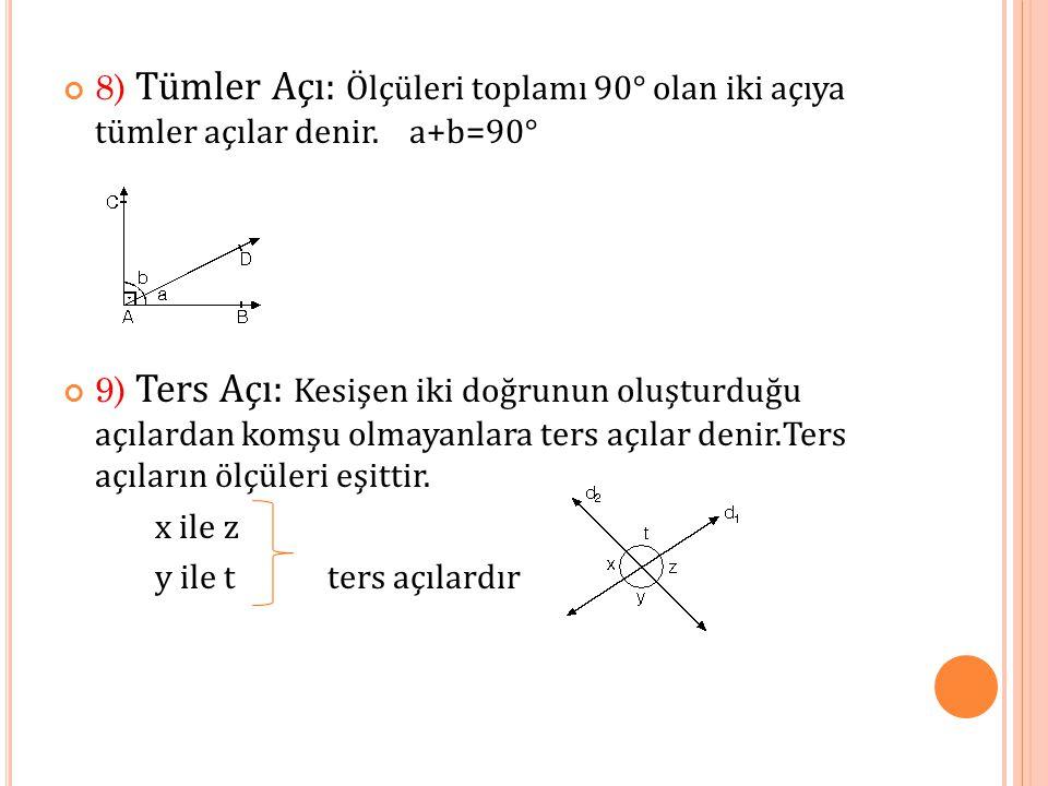 8) Tümler Açı: Ölçüleri toplamı 90° olan iki açıya tümler açılar denir