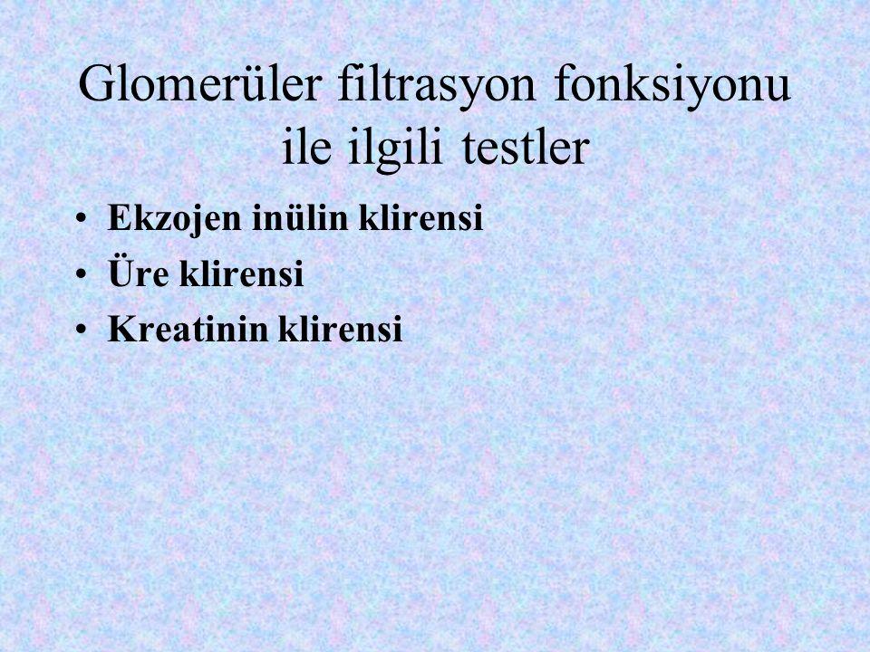Glomerüler filtrasyon fonksiyonu ile ilgili testler