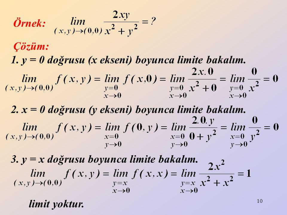 Örnek: Çözüm: 1. y = 0 doğrusu (x ekseni) boyunca limite bakalım. 2. x = 0 doğrusu (y ekseni) boyunca limite bakalım.