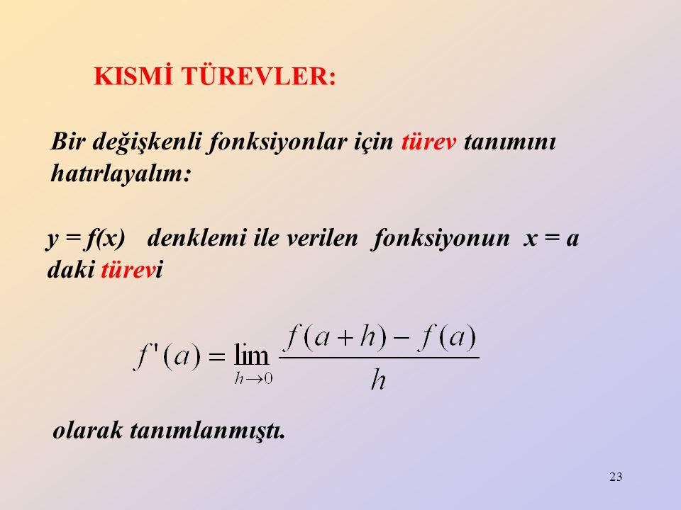 KISMİ TÜREVLER: Bir değişkenli fonksiyonlar için türev tanımını hatırlayalım: y = f(x) denklemi ile verilen fonksiyonun x = a daki türevi.