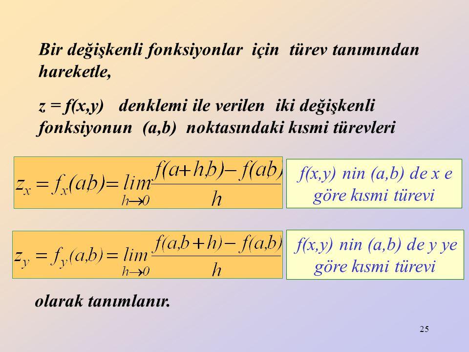 Bir değişkenli fonksiyonlar için türev tanımından hareketle,