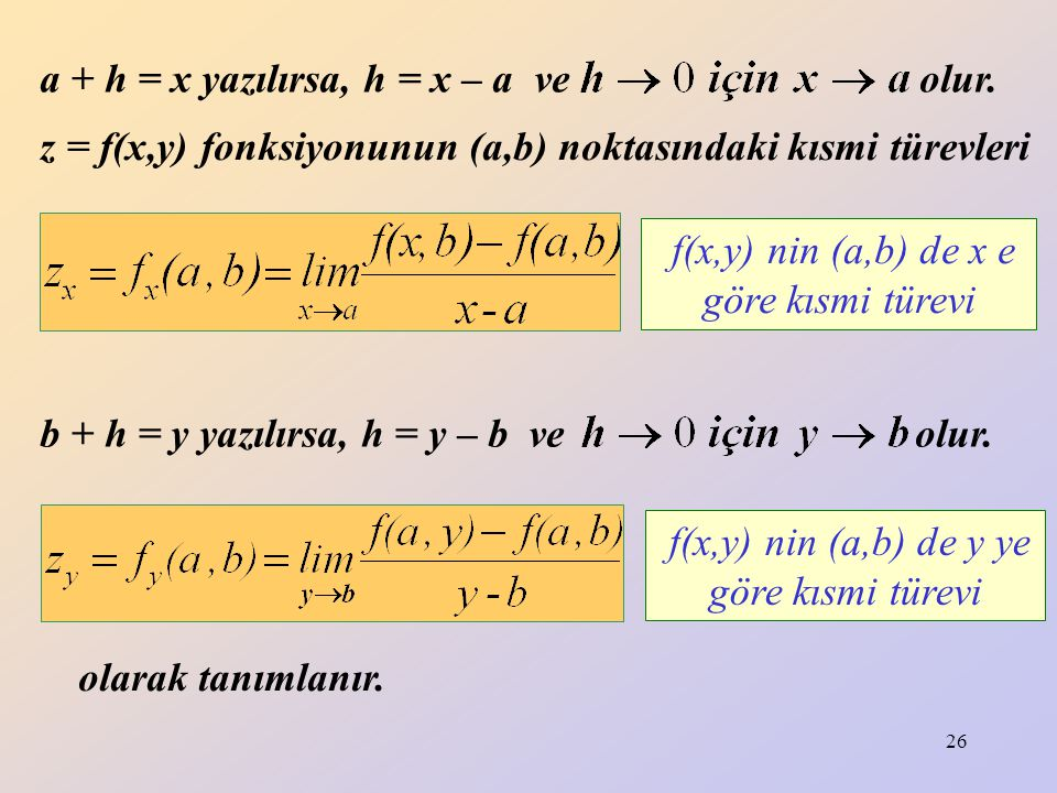a + h = x yazılırsa, h = x – a ve olur.