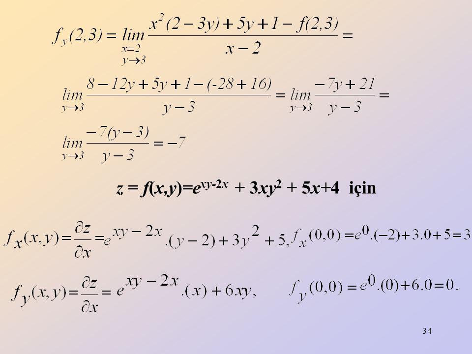 z = f(x,y)=exy-2x + 3xy2 + 5x+4 için