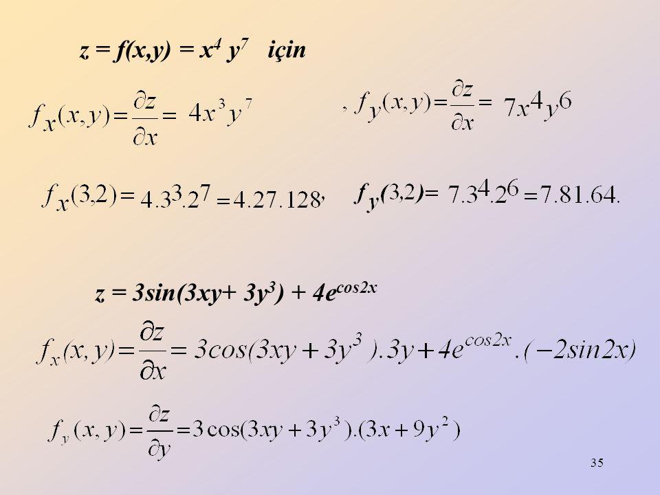 z = f(x,y) = x4 y7 için z = 3sin(3xy+ 3y3) + 4ecos2x
