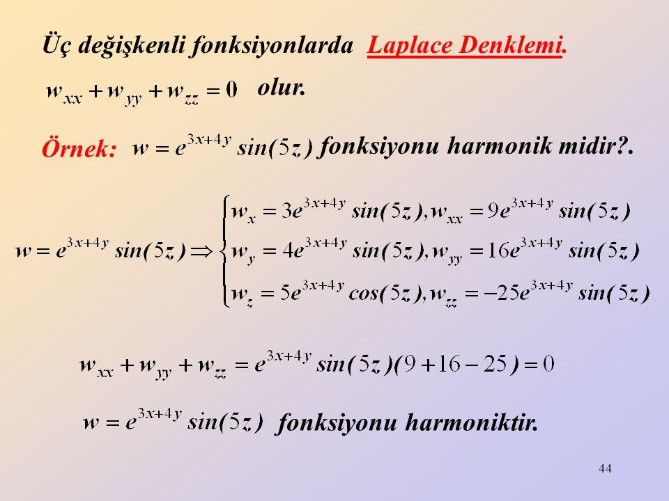 Üç değişkenli fonksiyonlarda Laplace Denklemi.
