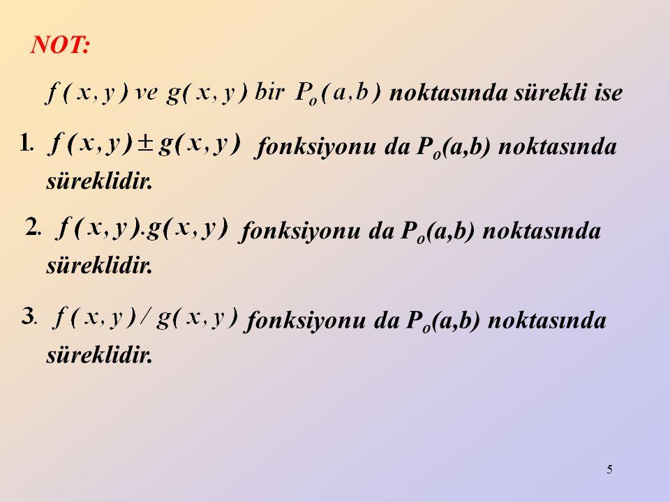NOT: noktasında sürekli ise. fonksiyonu da Po(a,b) noktasında. süreklidir. fonksiyonu da Po(a,b) noktasında.