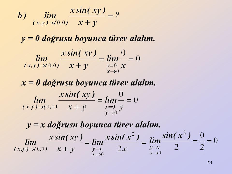 y = 0 doğrusu boyunca türev alalım.