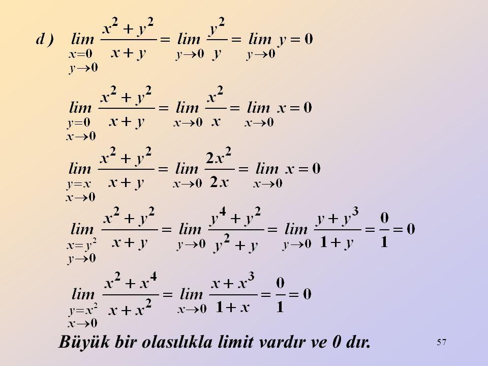 Büyük bir olasılıkla limit vardır ve 0 dır.