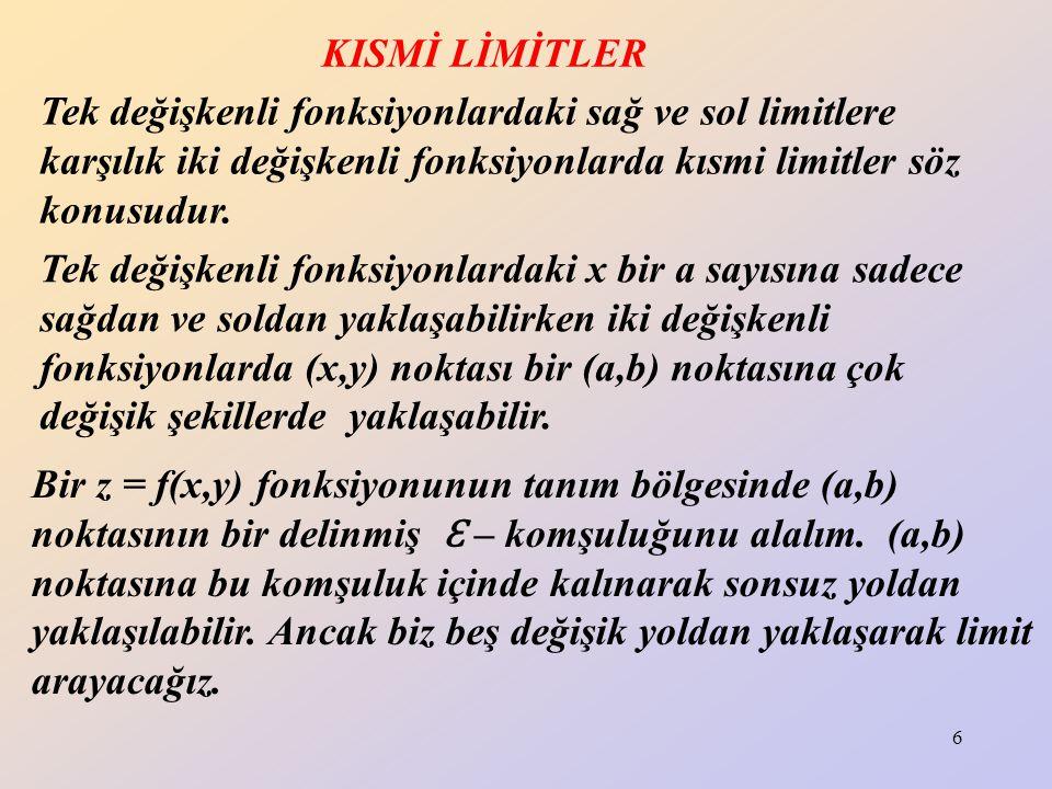 KISMİ LİMİTLER Tek değişkenli fonksiyonlardaki sağ ve sol limitlere karşılık iki değişkenli fonksiyonlarda kısmi limitler söz konusudur.