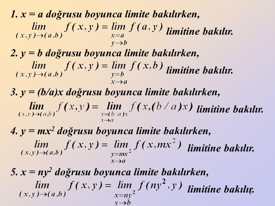 1. x = a doğrusu boyunca limite bakılırken,