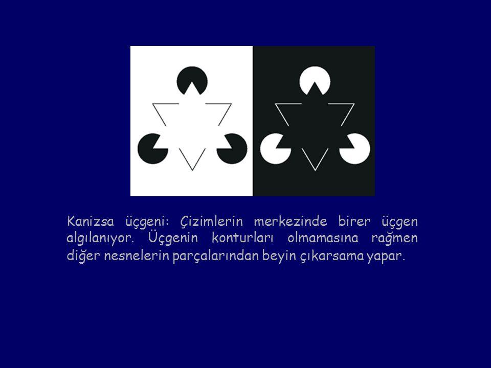 Kanizsa üçgeni: Çizimlerin merkezinde birer üçgen algılanıyor