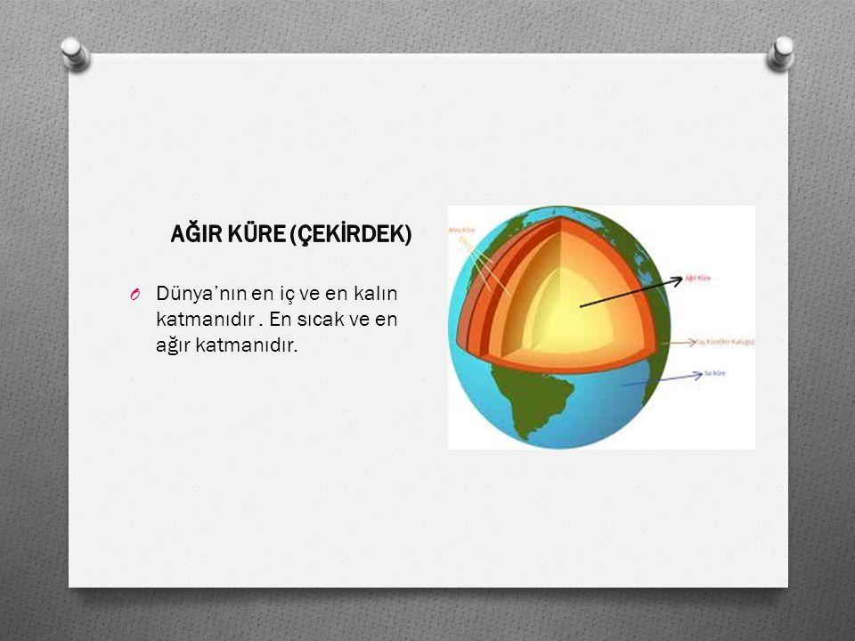 AĞIR KÜRE (ÇEKİRDEK) Dünya'nın en iç ve en kalın katmanıdır . En sıcak ve en ağır katmanıdır.