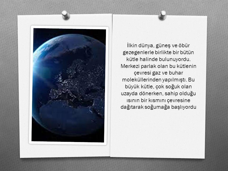 İlkin dünya, güneş ve öbür gezegenlerle birlikte bir bütün kütle halinde bulunuyordu.