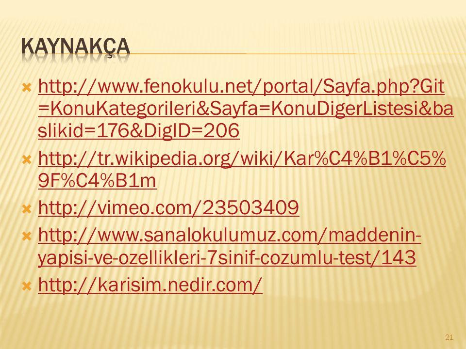KAYNAKÇA http://www.fenokulu.net/portal/Sayfa.php Git=KonuKategorileri&Sayfa=KonuDigerListesi&baslikid=176&DigID=206.