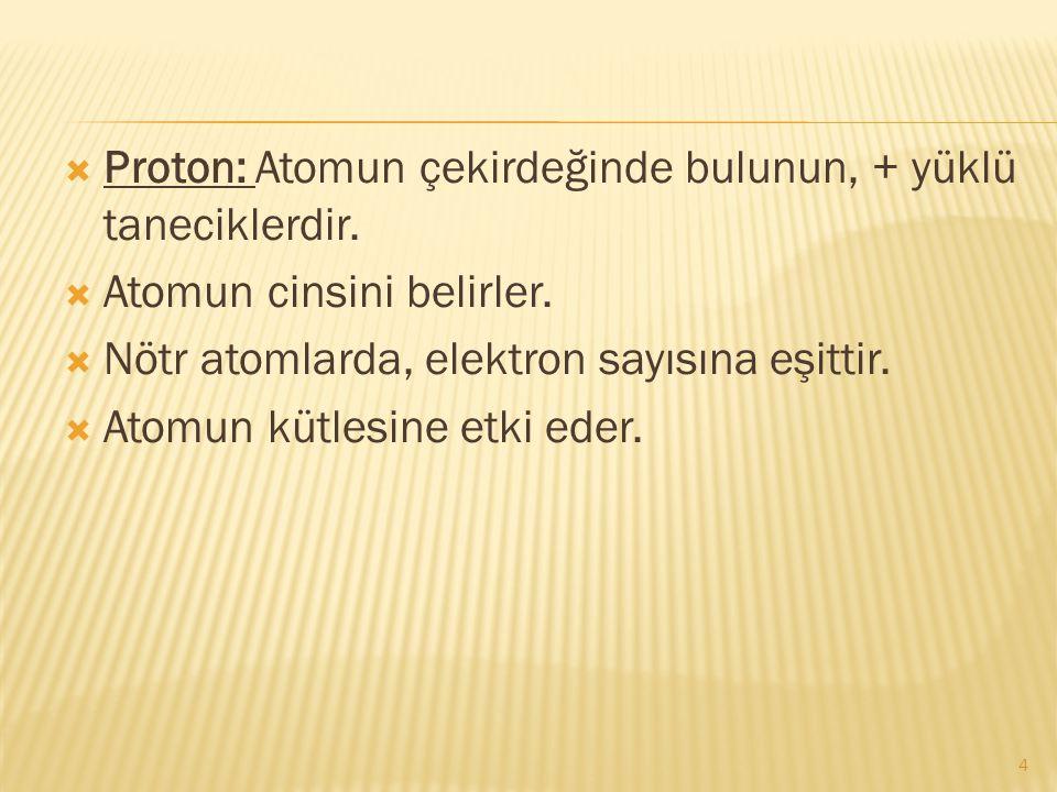 Proton: Atomun çekirdeğinde bulunun, + yüklü taneciklerdir.