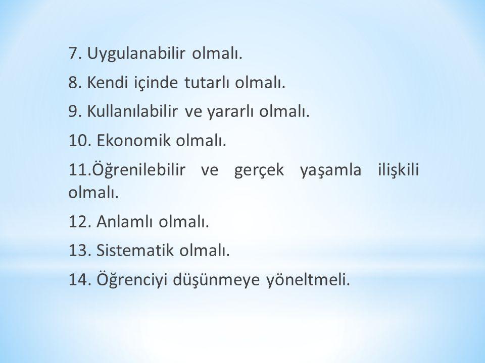 7. Uygulanabilir olmalı. 8. Kendi içinde tutarlı olmalı. 9. Kullanılabilir ve yararlı olmalı. 10. Ekonomik olmalı.