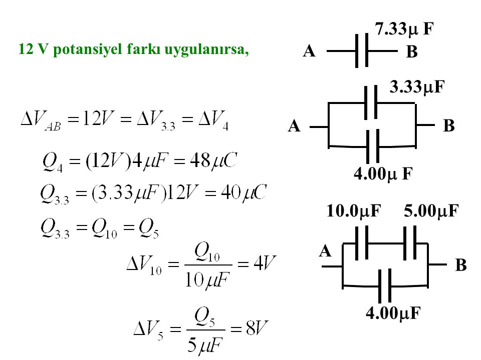 A B 7.33 F 12 V potansiyel farkı uygulanırsa, A B 3.33F 4.00 F B 10.0F 5.00F 4.00F A