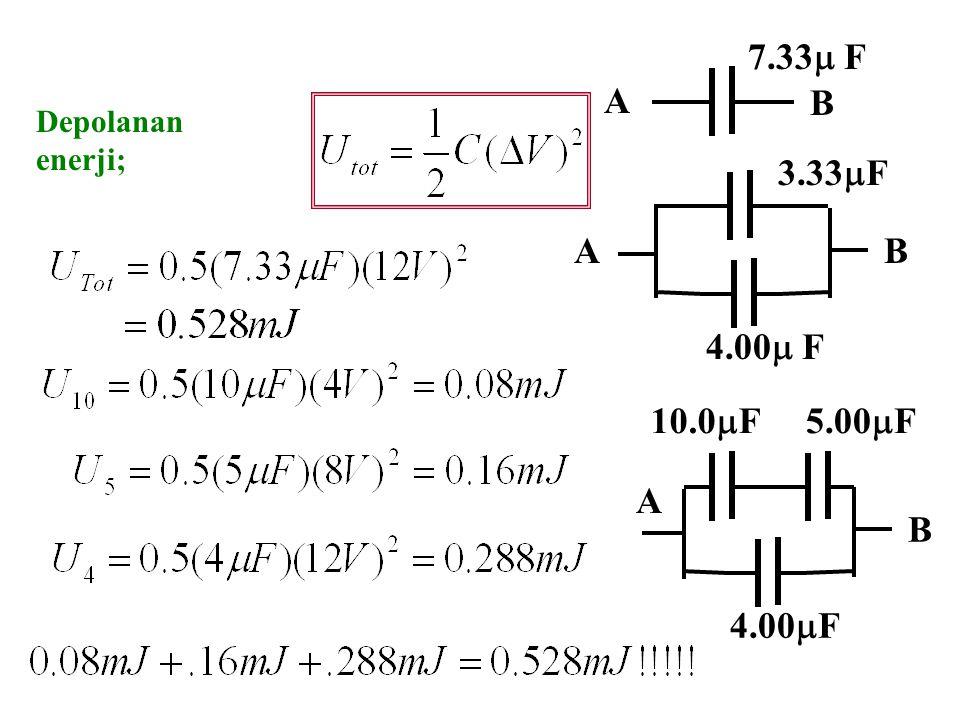 A B 7.33 F Depolanan enerji; 3.33F A B 4.00 F 10.0F 5.00F A B 4.00F
