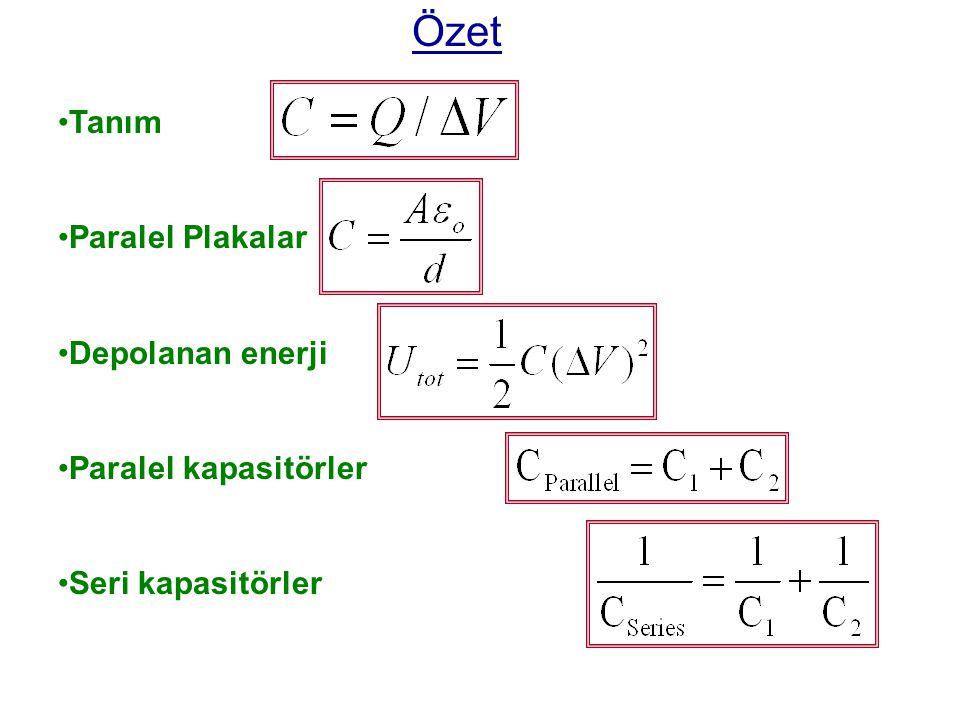 Özet Tanım Paralel Plakalar Depolanan enerji Paralel kapasitörler