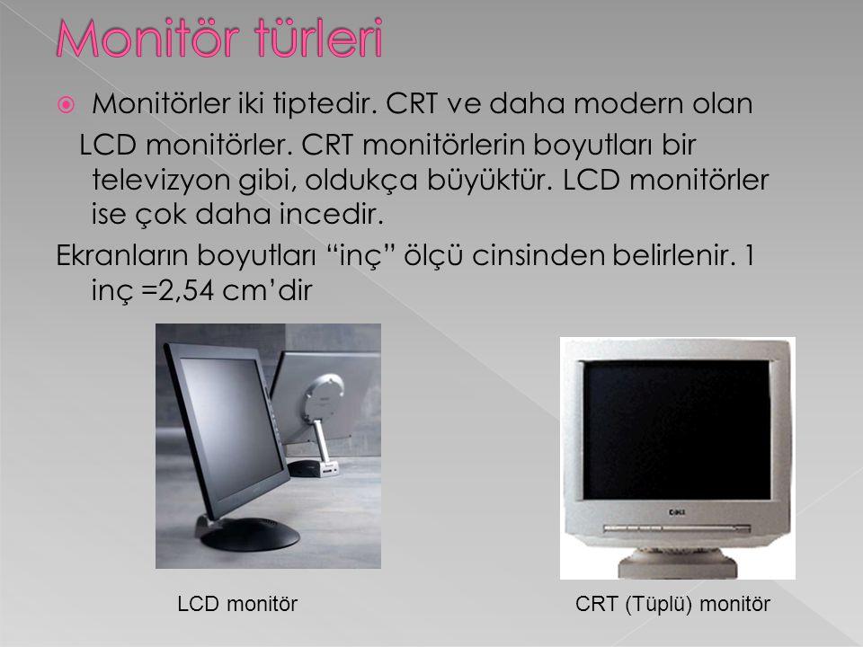 Monitör türleri Monitörler iki tiptedir. CRT ve daha modern olan