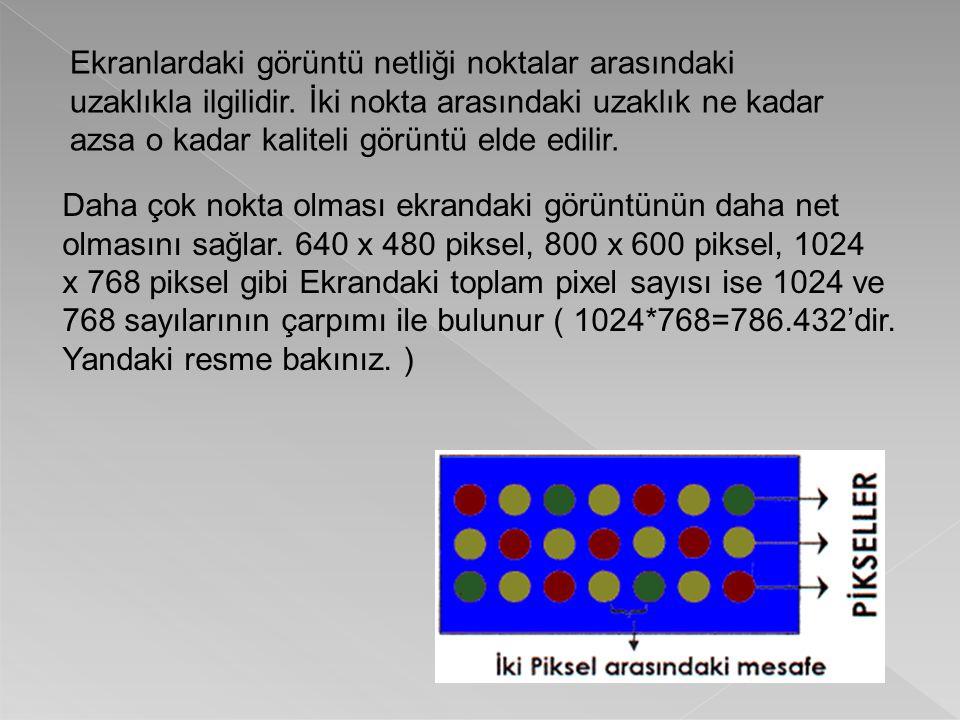 Ekranlardaki görüntü netliği noktalar arasındaki