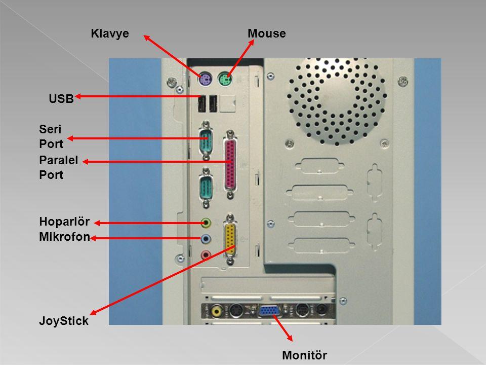 Klavye Mouse USB Seri Port Paralel Port Hoparlör Mikrofon JoyStick Monitör