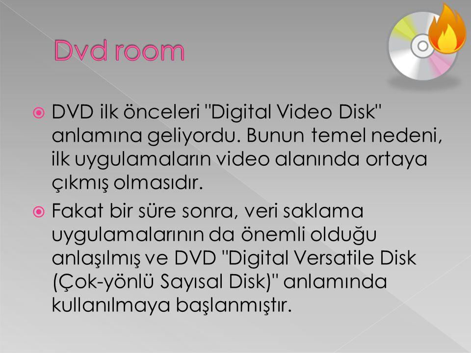 Dvd room DVD ilk önceleri Digital Video Disk anlamına geliyordu. Bunun temel nedeni, ilk uygulamaların video alanında ortaya çıkmış olmasıdır.