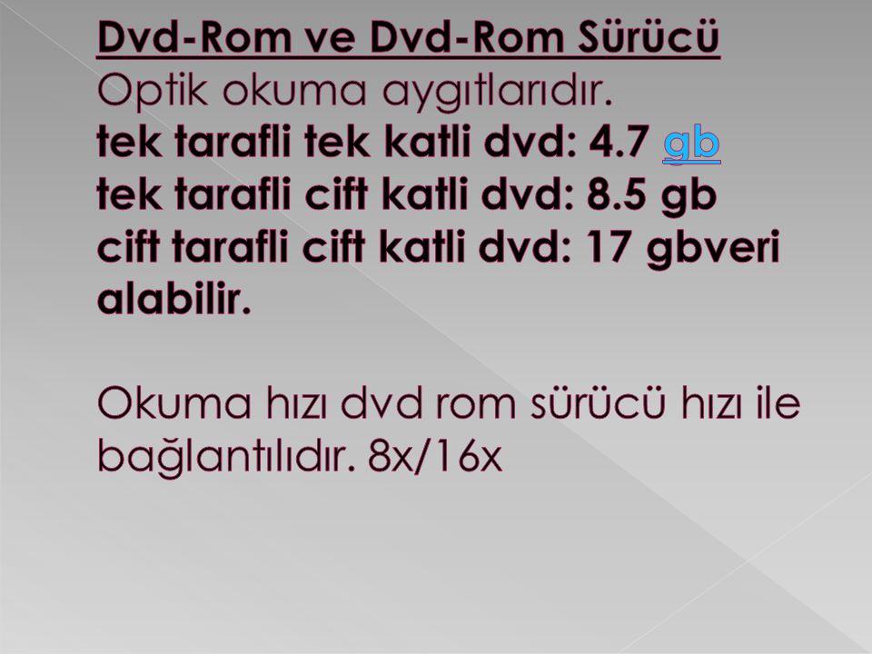 Dvd-Rom ve Dvd-Rom Sürücü Optik okuma aygıtlarıdır