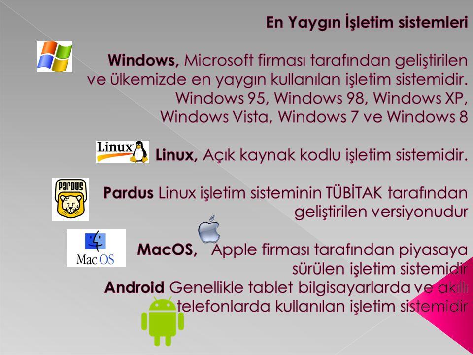 En Yaygın İşletim sistemleri Windows, Microsoft firması tarafından geliştirilen ve ülkemizde en yaygın kullanılan işletim sistemidir.