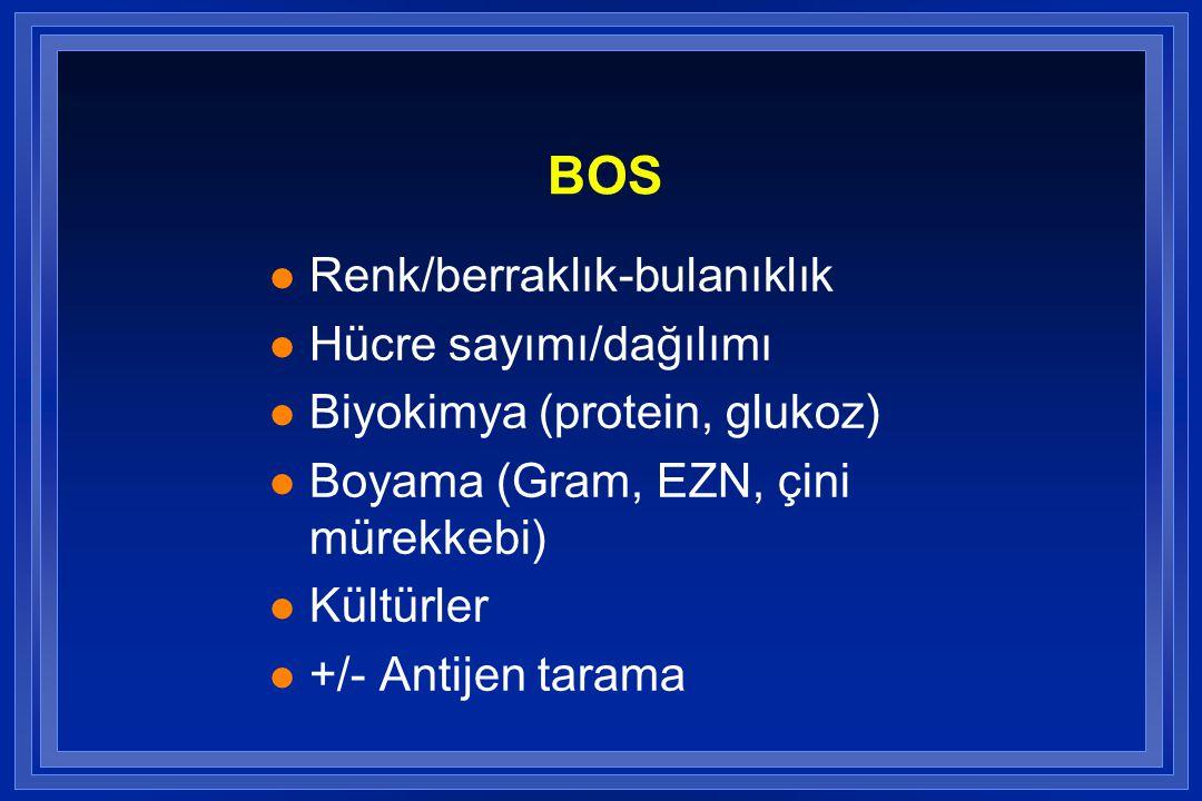 BOS Renk/berraklık-bulanıklık Hücre sayımı/dağılımı