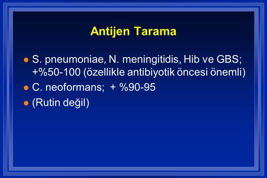 Antijen Tarama S. pneumoniae, N. meningitidis, Hib ve GBS; +%50-100 (özellikle antibiyotik öncesi önemli)