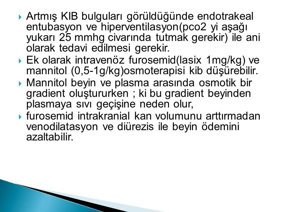 Artmış KIB bulguları görüldüğünde endotrakeal entubasyon ve hiperventilasyon(pco2 yi aşağı yukarı 25 mmhg civarında tutmak gerekir) ile ani olarak tedavi edilmesi gerekir.