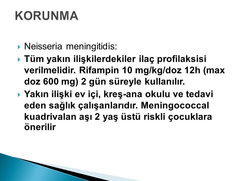 KORUNMA Neisseria meningitidis: