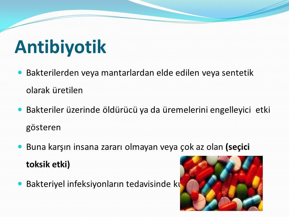Antibiyotik Bakterilerden veya mantarlardan elde edilen veya sentetik olarak üretilen.